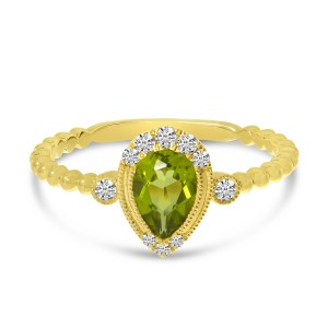 14K Yellow Gold Pear Peridot and Diamond Ball Band Semi Precious Ring