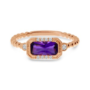 14K Rose Gold Octagon Amethyst and Diamond Semi Precious Ball Band Ring