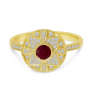 14K Yellow Gold Round Ruby and Diamond Precious Art Deco Ring