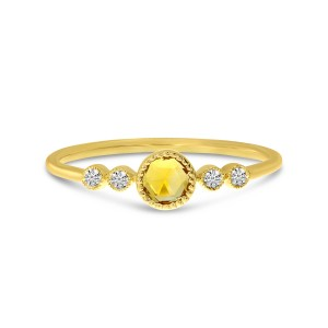 14K Yellow Gold Round Citrine and Diamond Stackable Semi Precious Ring