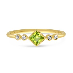 14K Yellow Gold Princess Peridot and Diamond Stackable Semi Precious Ring
