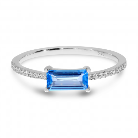 14K White Gold Emerald Cut Blue Topaz and Diamond Semi Precious Ring