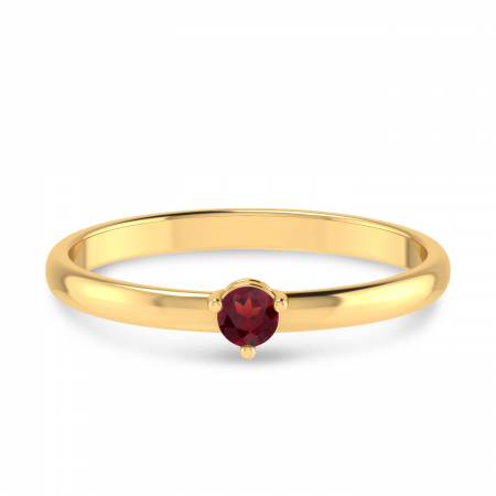 10K Yellow Gold 3mm Round Garnet Birthstone Ring