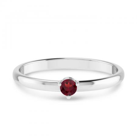 10K White Gold 3mm Round Garnet Birthstone Ring