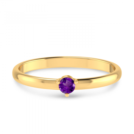 14K Yellow Gold 3mm Round Amethyst Birthstone Ring