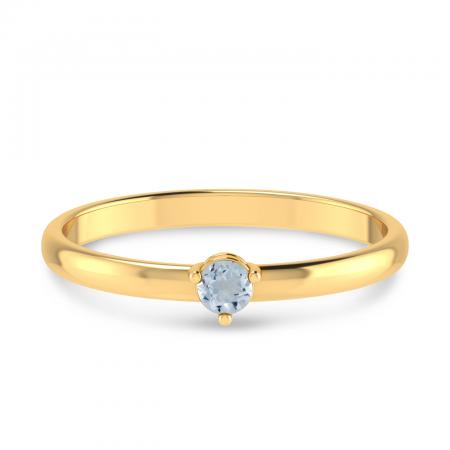 14K Yellow Gold 3mm Round Aquamarine Birthstone Ring