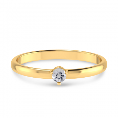 14K Yellow Gold 3mm Round White Topaz Birthstone Ring