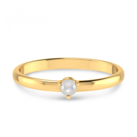 14K Yellow Gold 3mm Round Pearl Birthstone Ring