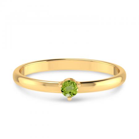 14K Yellow Gold 3mm Round Peridot Birthstone Ring
