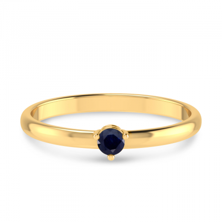 14K Yellow Gold 3mm Round Sapphire Birthstone Ring