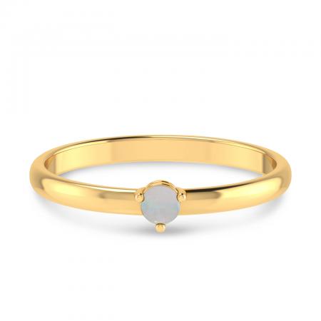 14K Yellow Gold 3mm Round Opal Birthstone Ring