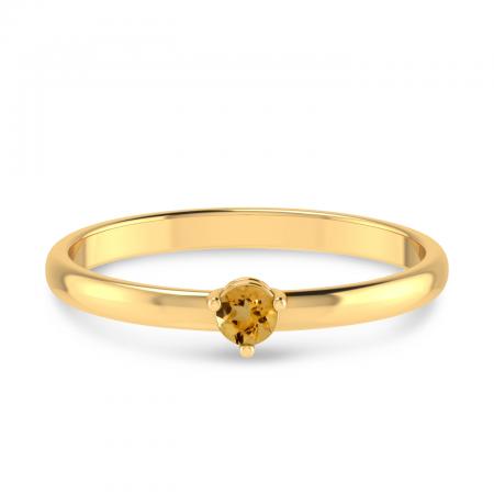 14K Yellow Gold 3mm Round Citrine Birthstone Ring