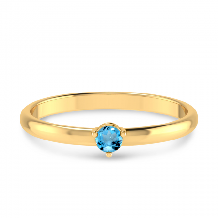 14K Yellow Gold 3mm Round Blue Topaz Birthstone Ring