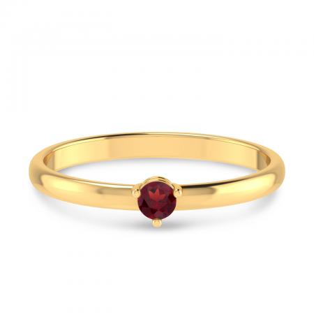 14K Yellow Gold 3mm Round Garnet Birthstone Ring