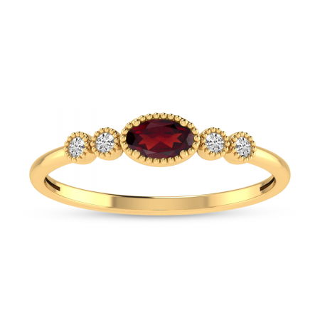 10K Yellow Gold Oval Garnet and Diamond Stackable Ring