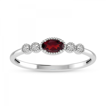 10K White Gold Oval Garnet and Diamond Stackable Ring