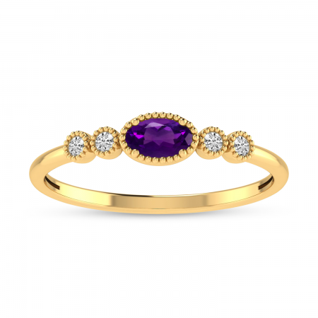 14K Yellow Gold Oval Amethyst and Diamond Stackable Ring