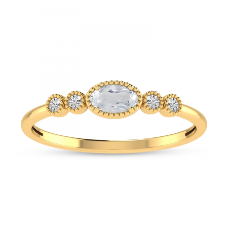 14K Yellow Gold Oval White Topaz and Diamond Dainty Ring