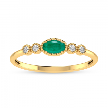 14K Yellow Gold Oval Emerald and Diamond Dainty Ring
