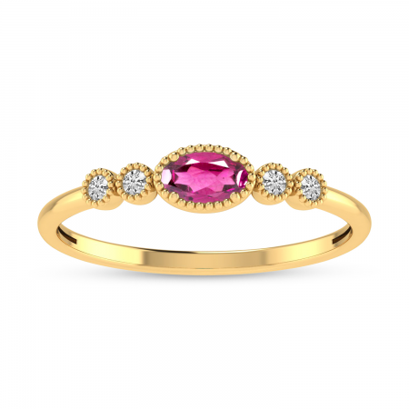 14K Yellow Gold Oval Pink Tourmaline and Diamond Stackable Ring