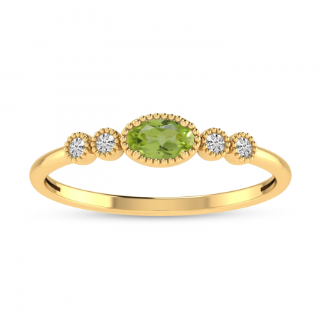 14K Yellow Gold Oval Peridot and Diamond Dainty Ring