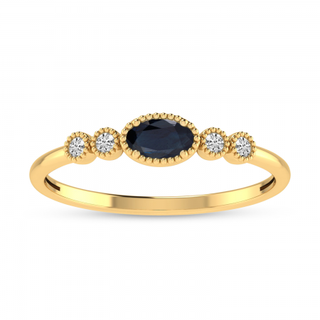 14K Yellow Gold Oval Sapphire and Diamond Dainty Ring