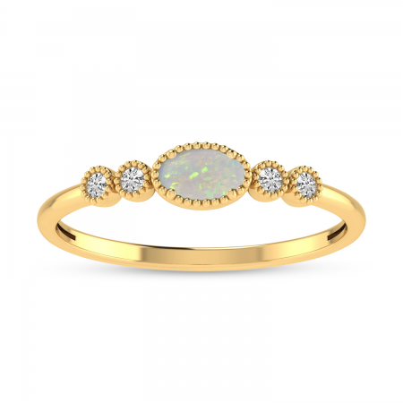 14K Yellow Gold Oval Opal and Diamond Dainty Ring