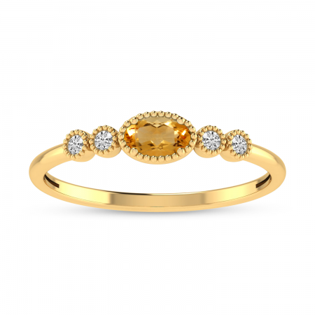 14K Yellow Gold Oval Citrine and Diamond Dainty Ring