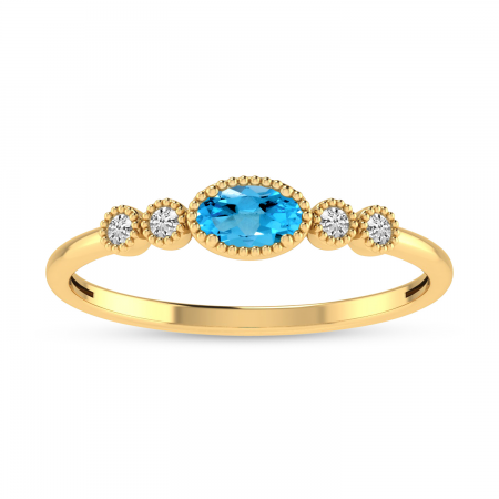 14K Yellow Gold Oval Blue Topaz and Diamond Dainty Ring