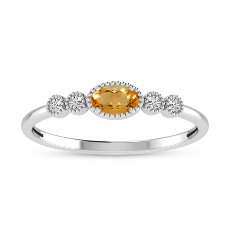14K White Gold Oval Citrine and Diamond Stackable Ring