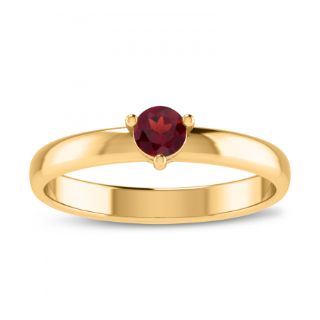 10K Yellow Gold 4mm Round Garnet Birthstone Ring