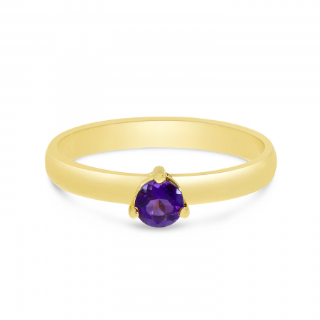 14K Yellow Gold 4mm Round Amethyst Birthstone Ring