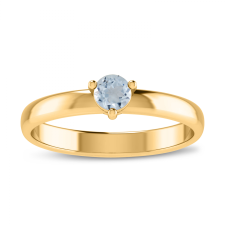 14K Yellow Gold 4mm Round Aquamarine Birthstone Ring
