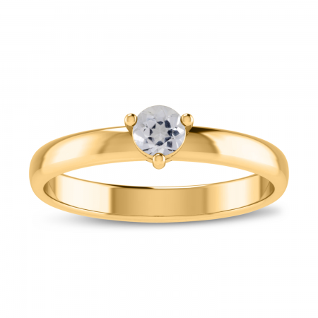 14K Yellow Gold 4mm Round White Topaz Birthstone Ring