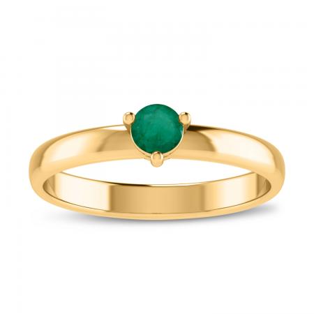 14K Yellow Gold 4mm Round Emerald Birthstone Ring