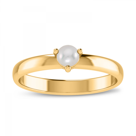 14K Yellow Gold 4mm Round Pearl Birthstone Ring