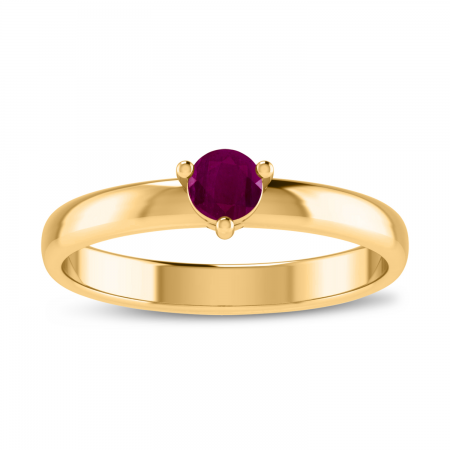14K Yellow Gold 4mm Round Ruby Birthstone Ring