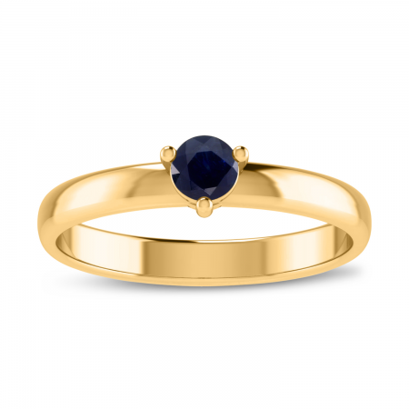 14K Yellow Gold 4mm Round Sapphire Birthstone Ring