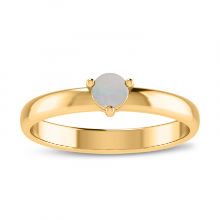 14K Yellow Gold 4mm Round Opal Birthstone Ring
