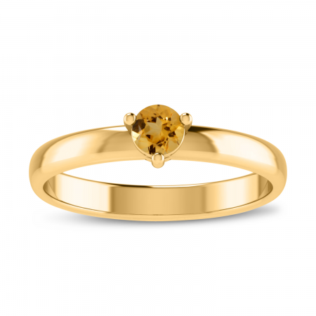14K Yellow Gold 4mm Round Citrine Birthstone Ring