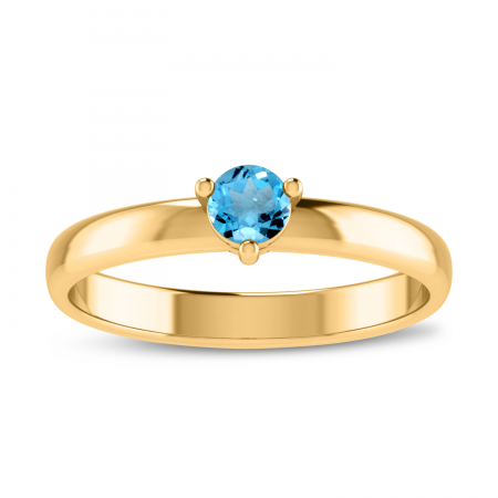 14K Yellow Gold 4mm Round Blue Topaz Birthstone Ring