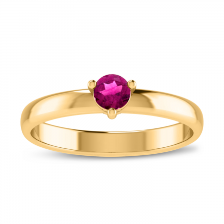 14K Yellow Gold 4mm Round Pink Topaz Birthstone Ring