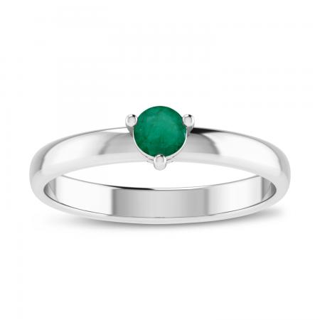 14K White Gold 4mm Round Emerald Birthstone Ring