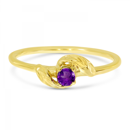 14K Yellow Gold 3mm Round Amethyst Birthstone Leaf Ring