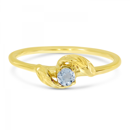 14K Yellow Gold 3mm Round Aquamarine Birthstone Leaf Ring