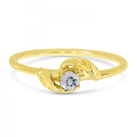 14K Yellow Gold 3mm Round White Topaz Birthstone Leaf Ring