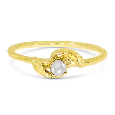 14K Yellow Gold 3mm Round Pearl Birthstone Leaf Ring