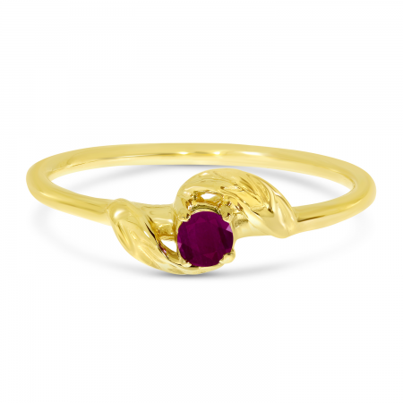 14K Yellow Gold 3mm Round Ruby Birthstone Leaf Ring