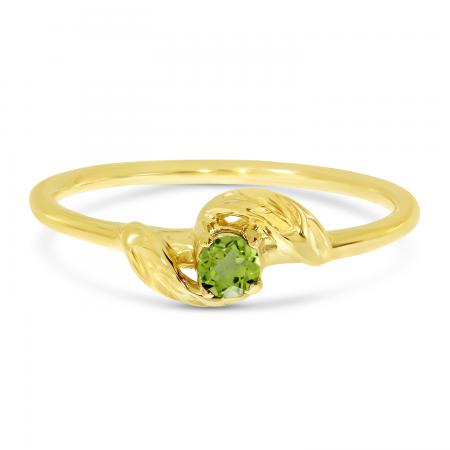 14K Yellow Gold 3mm Round Peridot Birthstone Leaf Ring