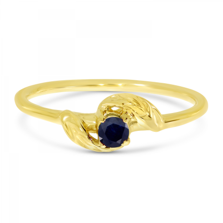 14K Yellow Gold 3mm Round Sapphire Birthstone Leaf Ring